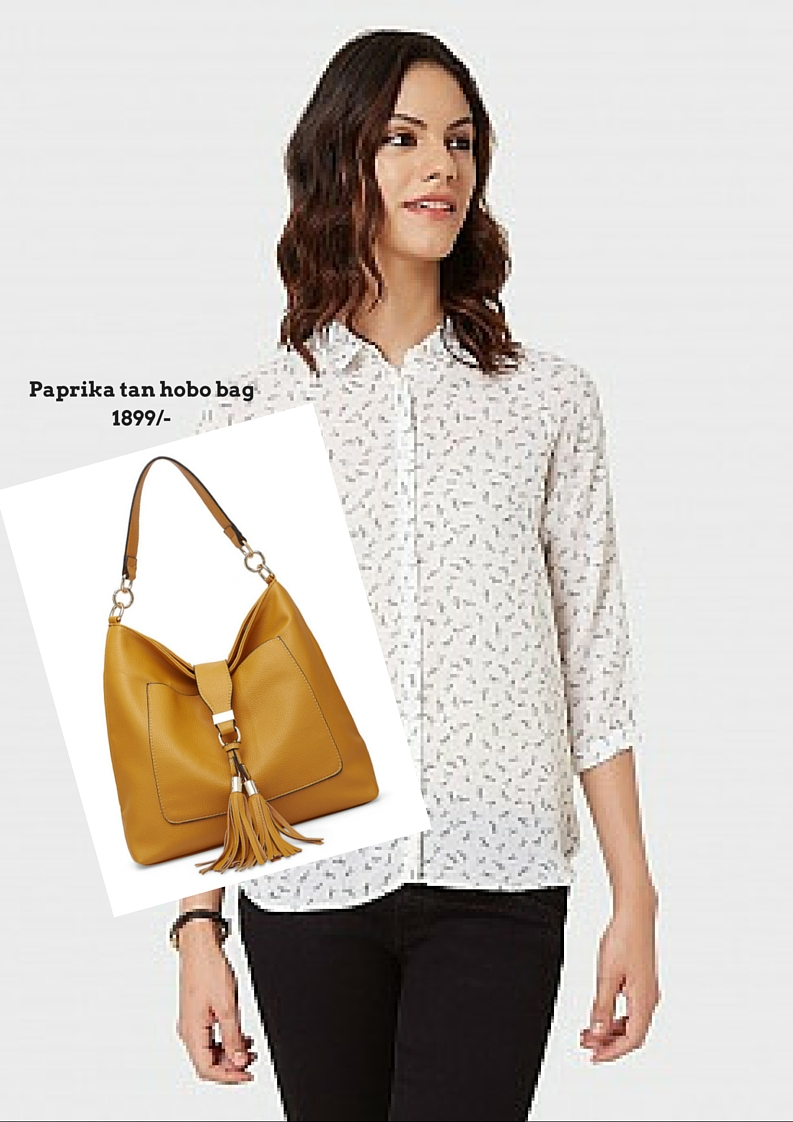 Paprika tan hobo bag with office look
