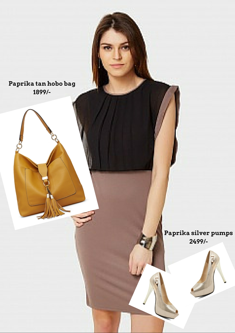 Paprika tan hobo bag with party look