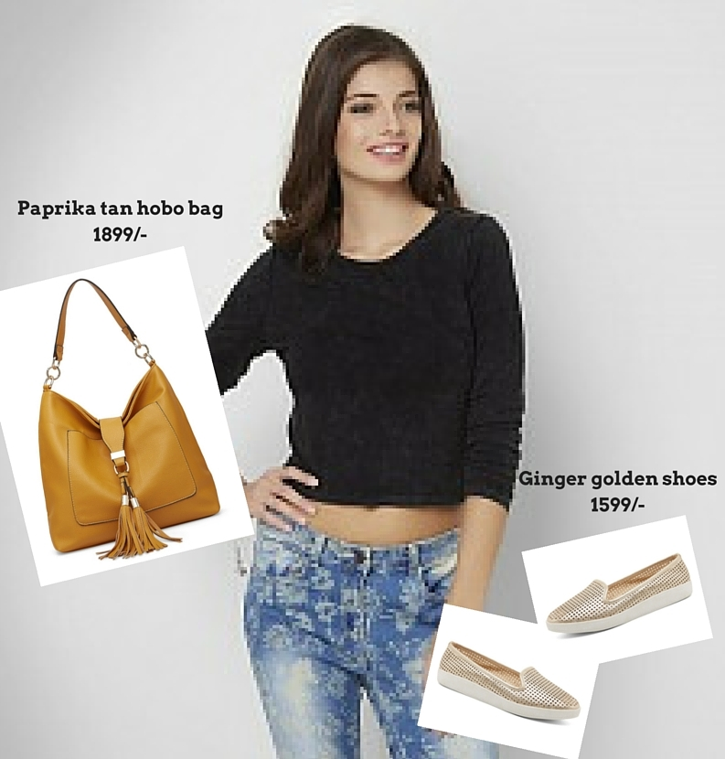 Paprika tan hobo bag with college look