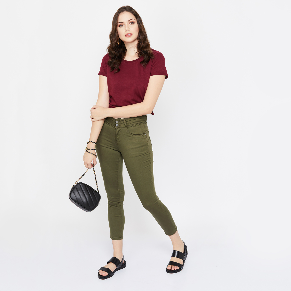 KRAUS Solid Skinny Fit Cropped Jeans
