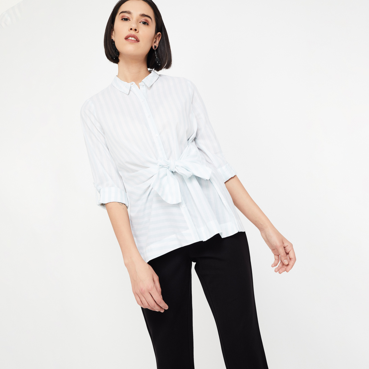 CODE Striped Shirt with Sash Tie-Up