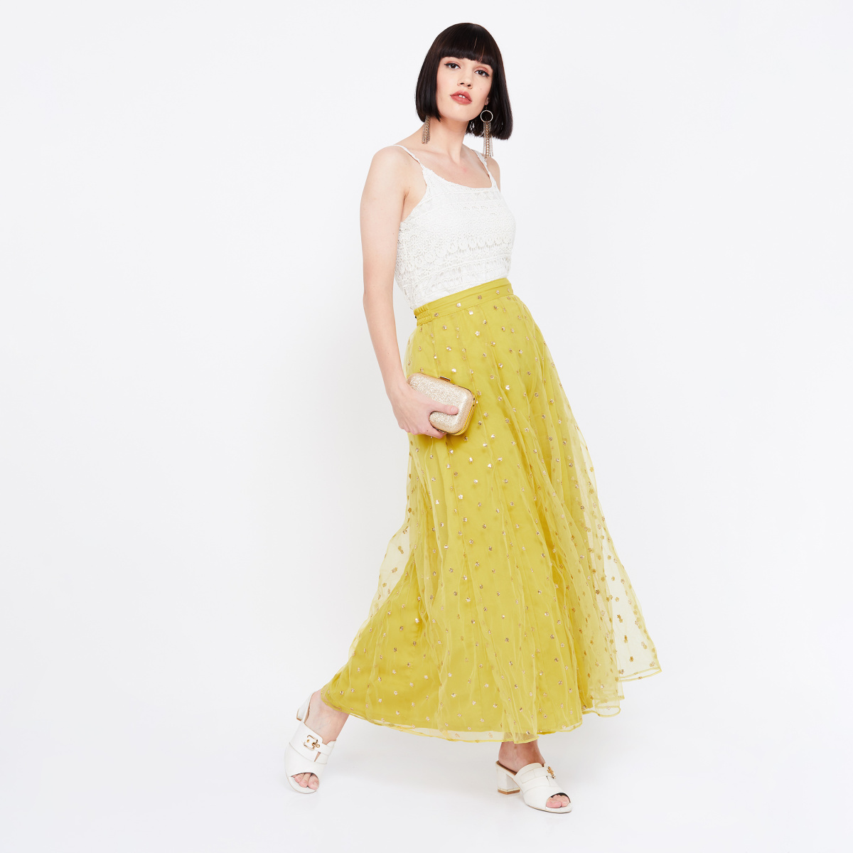 COLOUR ME Embellished Maxi Skirt