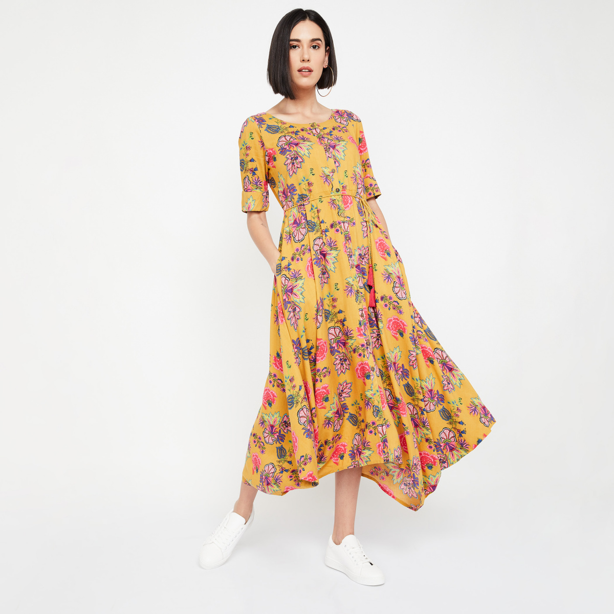 COLOUR ME Floral Print Flared Kurta with Tie-Up
