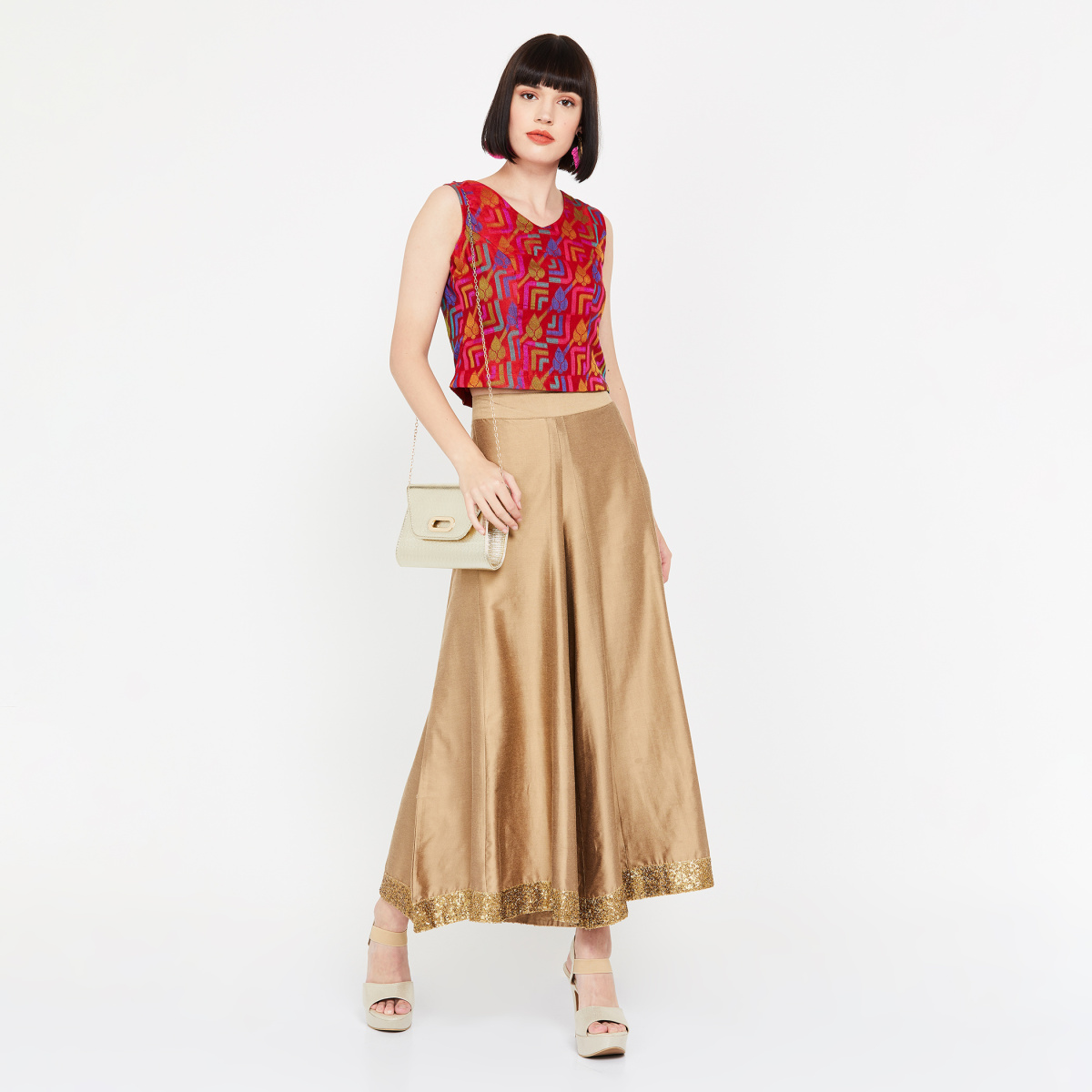 COLOUR ME Jacquard Woven Ethnic Crop Top