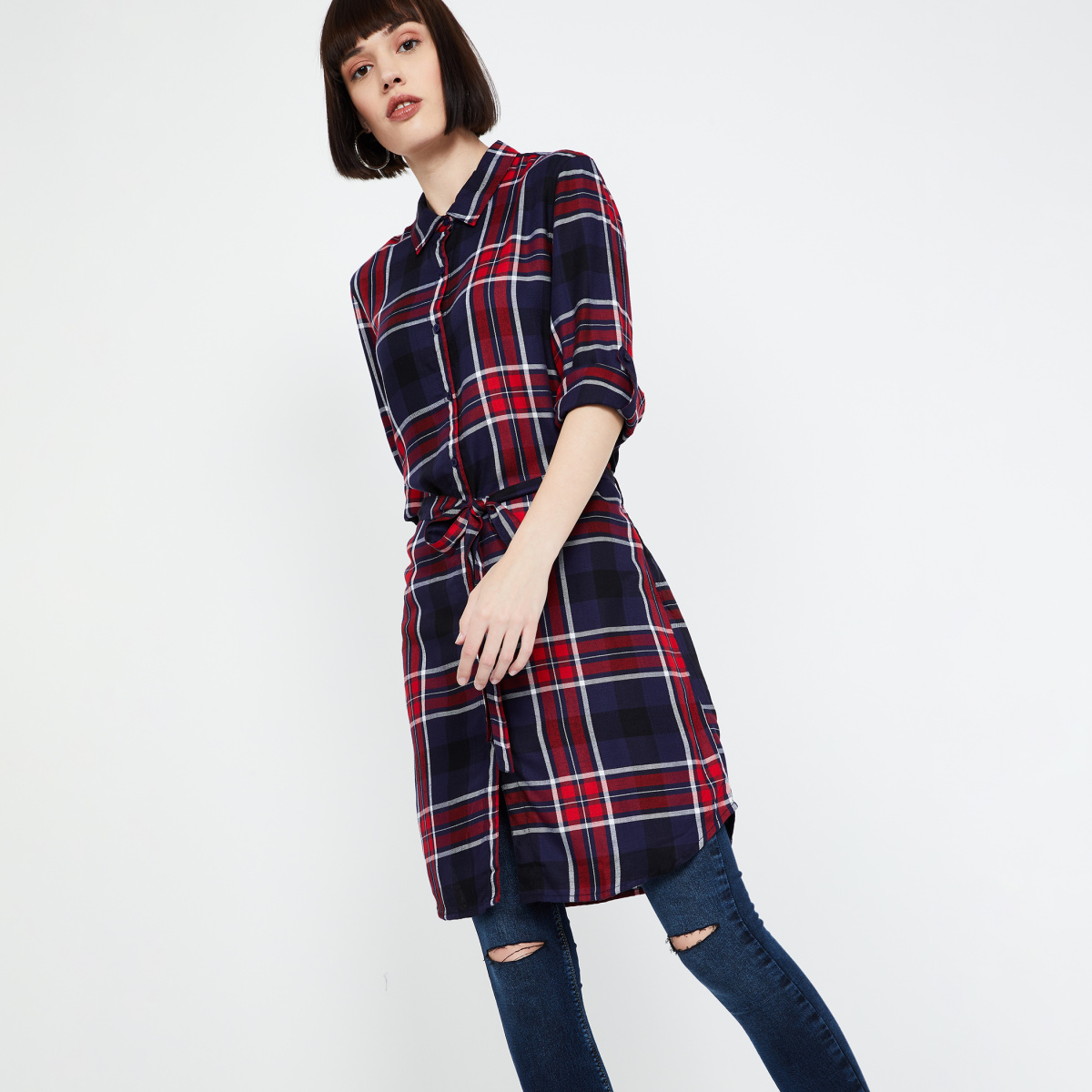 FAME FOREVER Checked Rolled-Up Sleeves Tunic