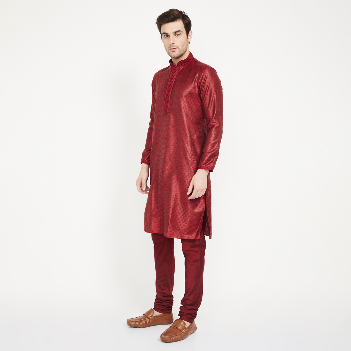 MANYAVAR Brocade Band Collar Kurta with Churidar