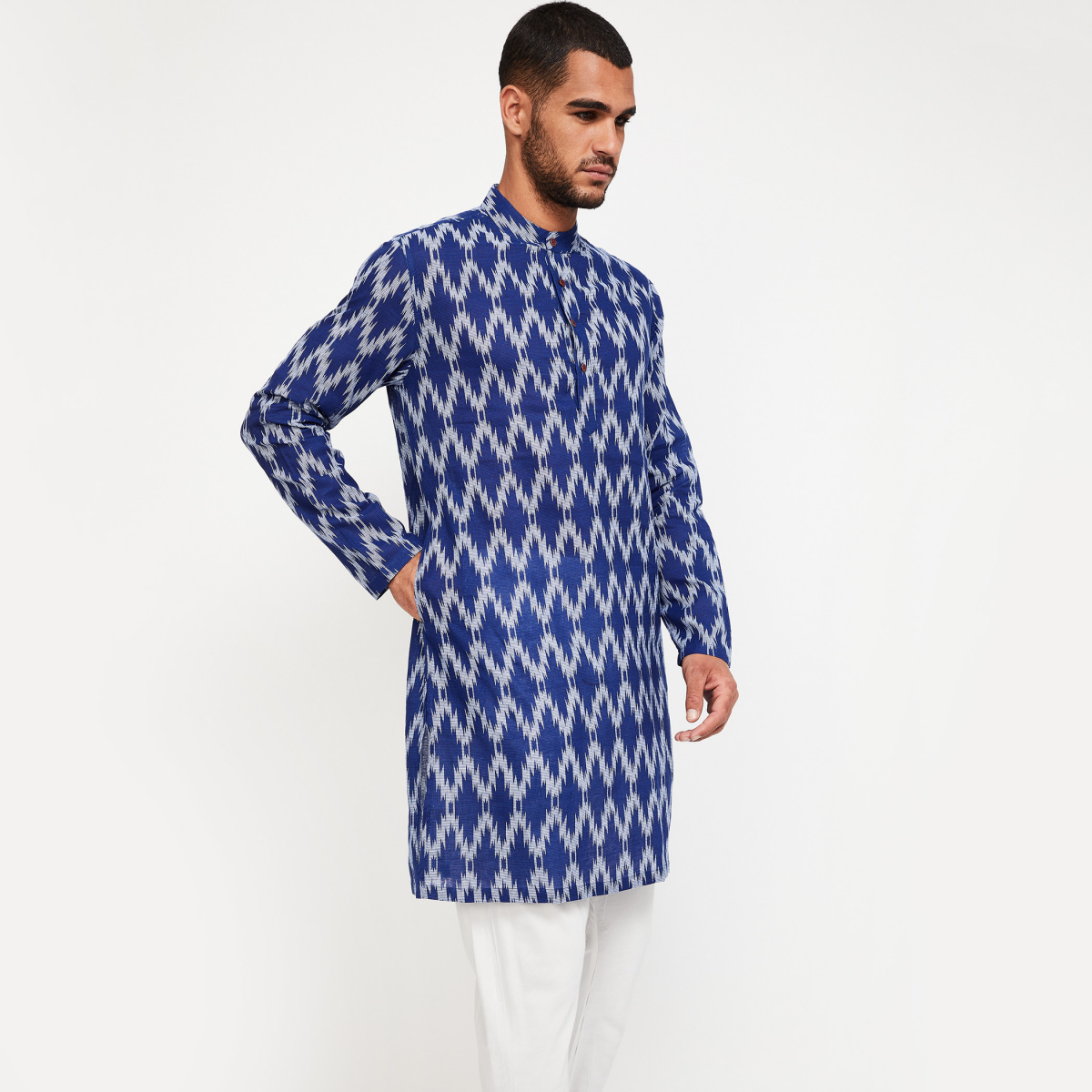 MELANGE Ikat Print Cotton Long Kurta