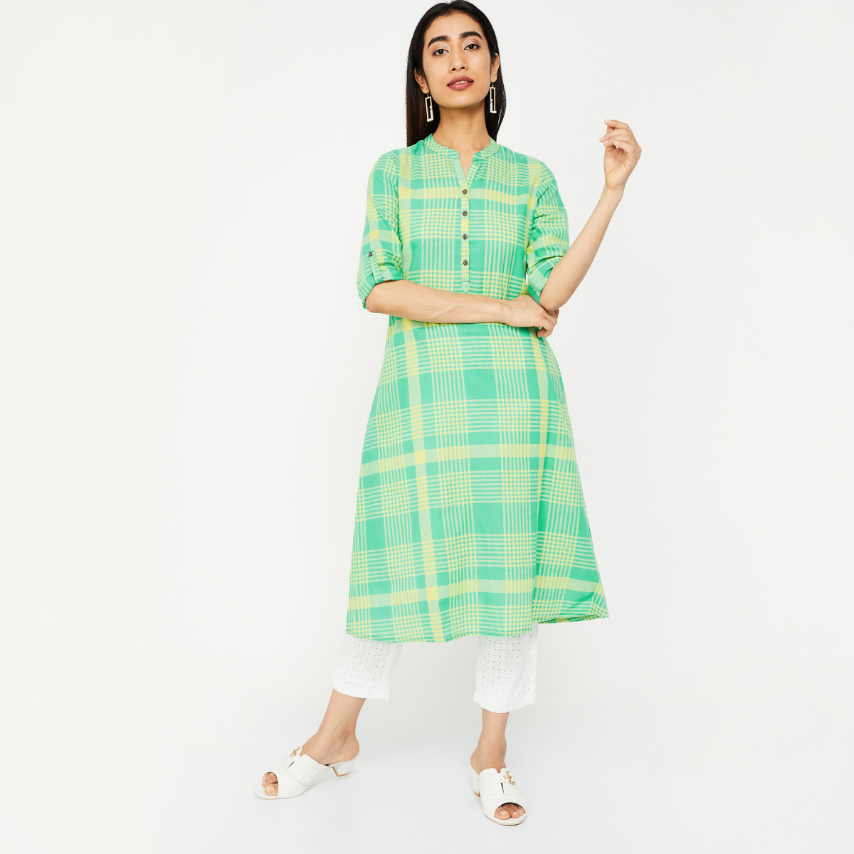 MELANGE Roll-Up Sleeves Checked A-line Kurta