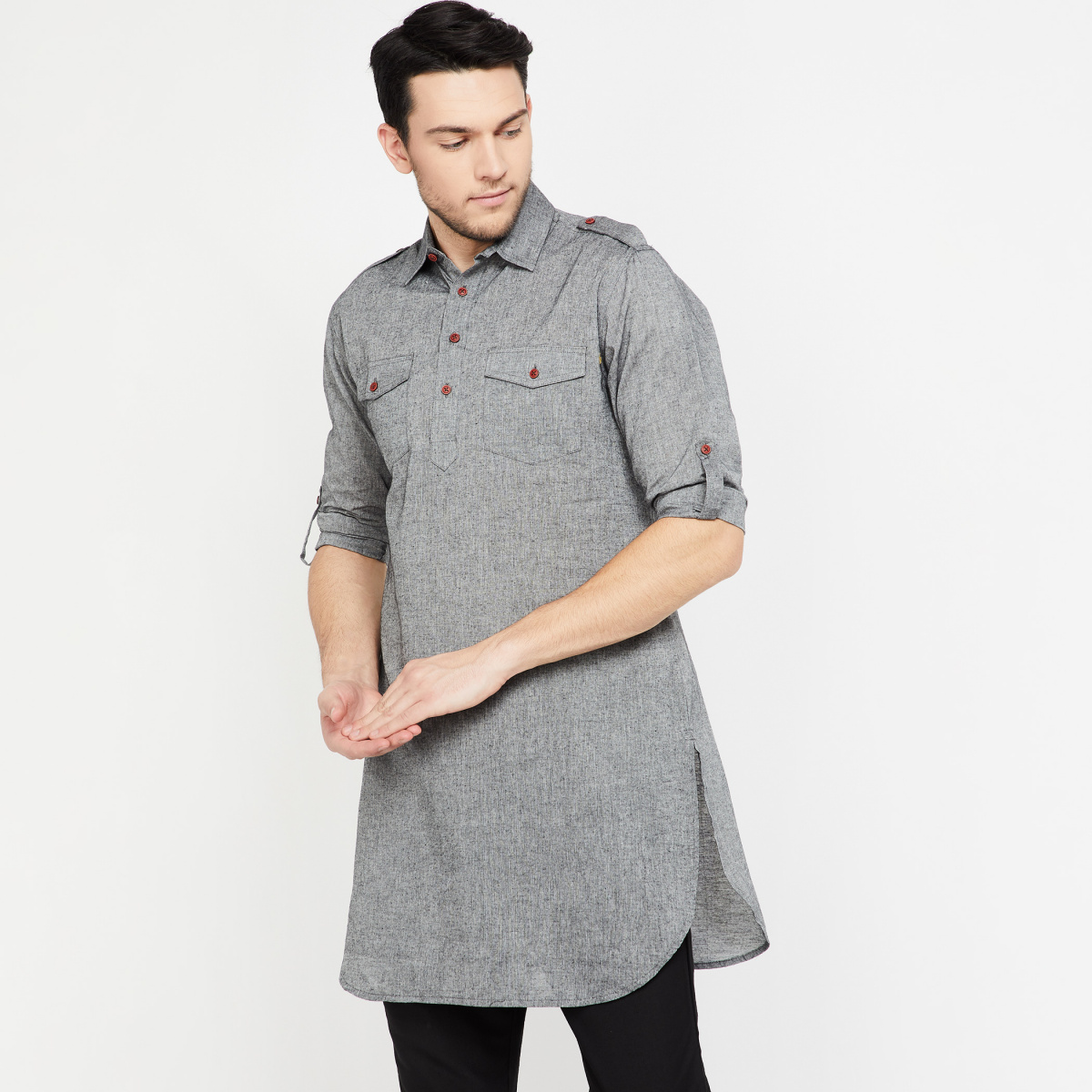 MELANGE Roll-Up Sleeves Heathered Regular Fit Shirt Kurta