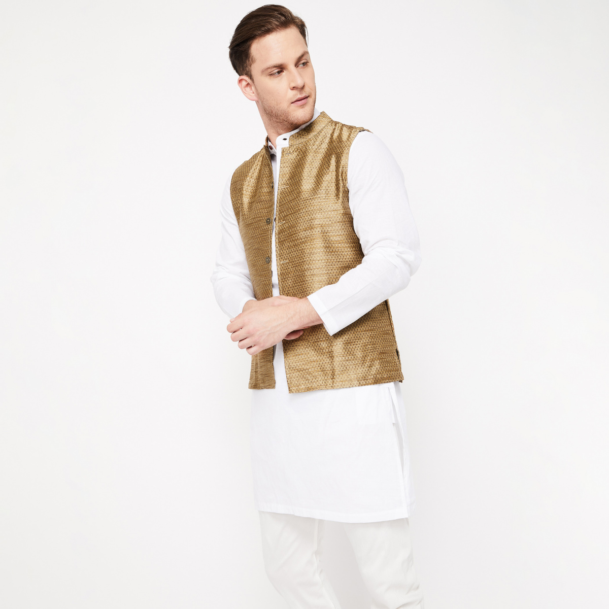 MELANGE Textured Regular Fit Nehru Jacket