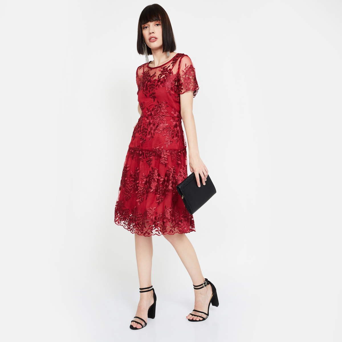 VERO MODA Embroidered Lace Overlay Fit-and-Flare Dress