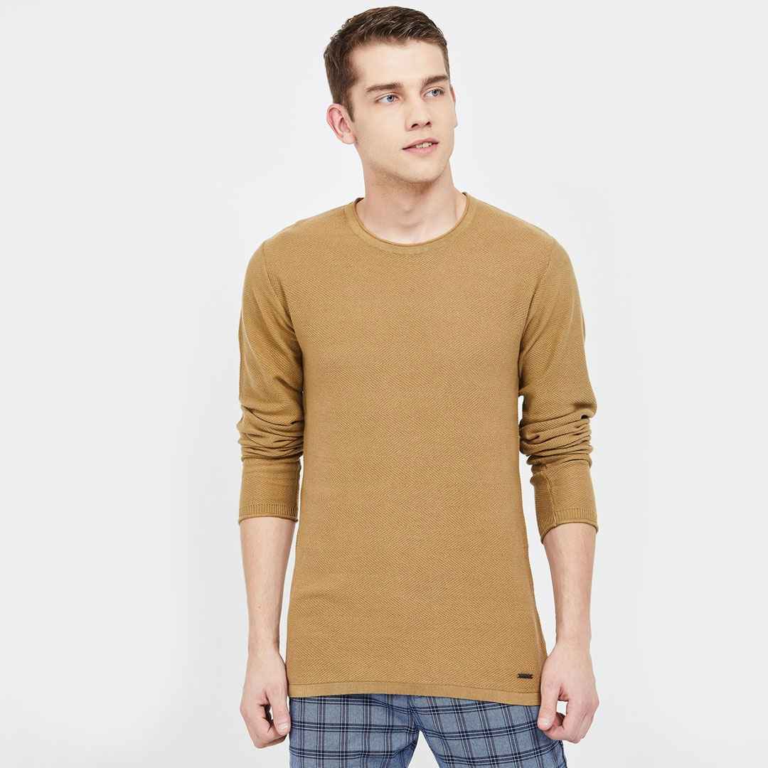 BOSSINI-Textured-Full-Sleeves-Sweater