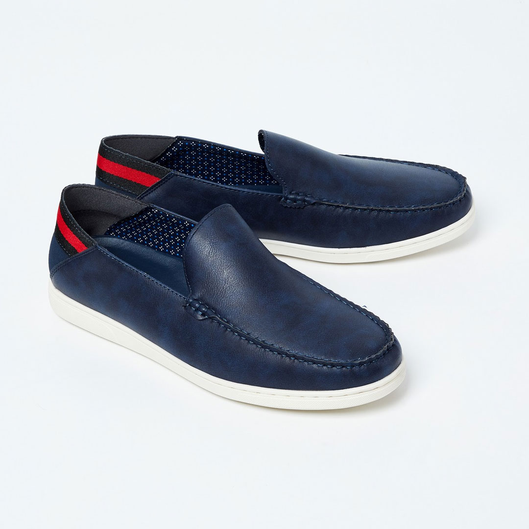 FORCA-Textured-Loafers-with-Striped-Heel-CollarFORCA-Textured-Loafers-with-Striped-Heel-Collar