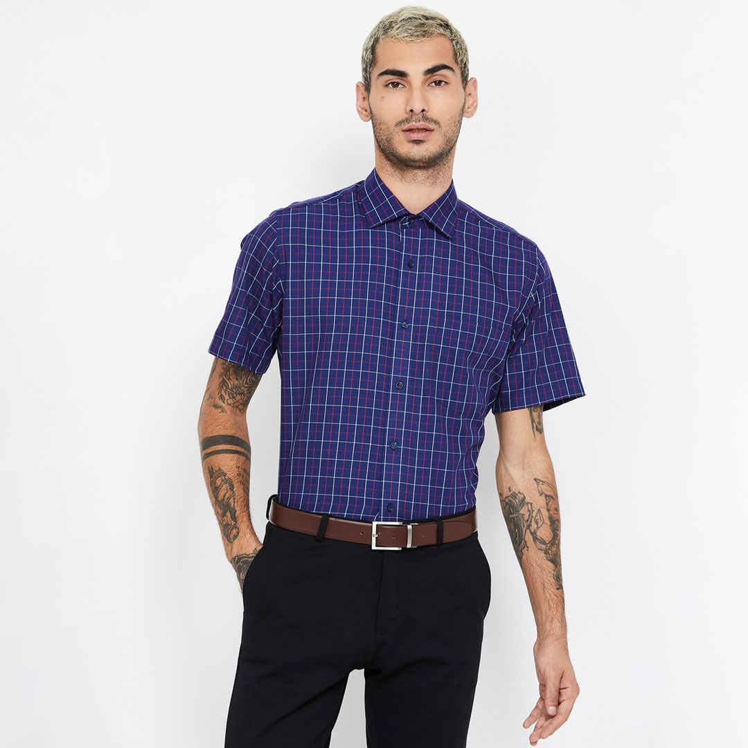 VAN-HEUSEN-Checked-Regular-Fit-Formal-Shirt
