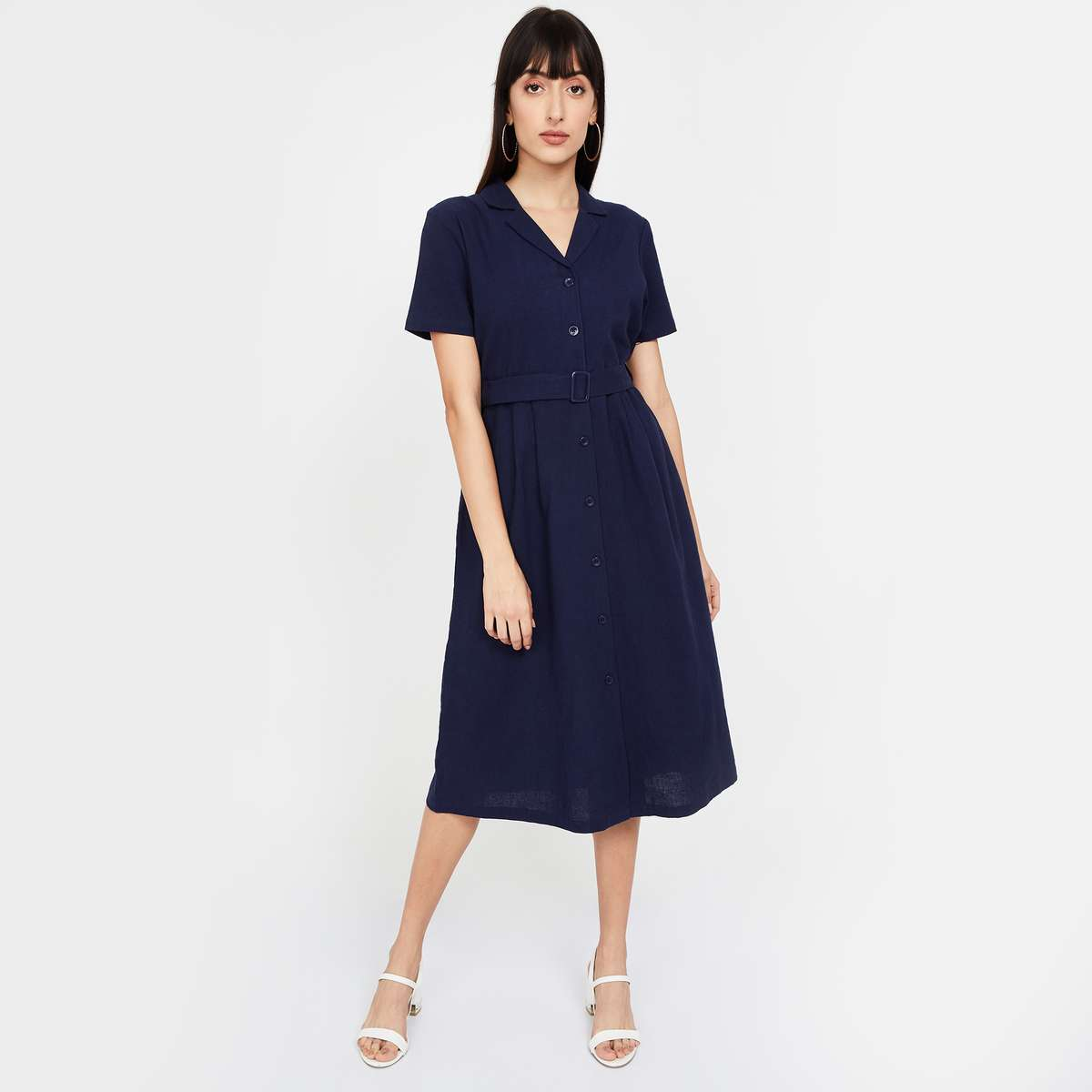 BOSSINI Solid Shirt Sleeves A-line Dress