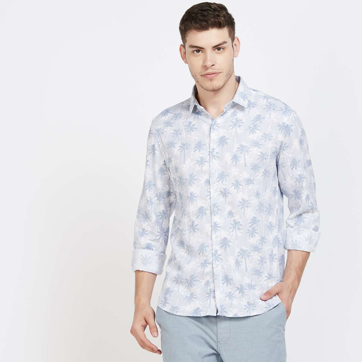 BOSSINI Tropical Print Regular Fit Casual Shirt
