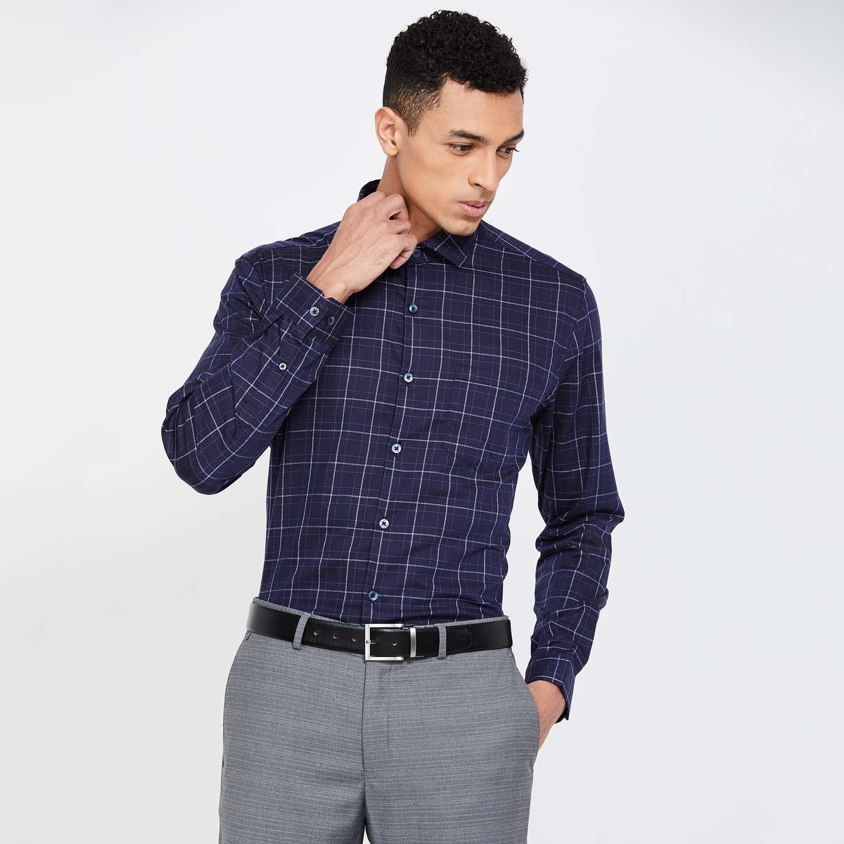 CODE Men Checked Full Sleeves Slim Fit Formal Shirt