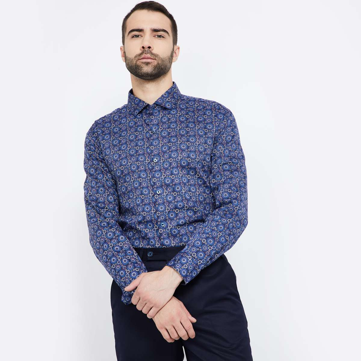 CODE Printed Full Sleeves Slim Fit Shirt
