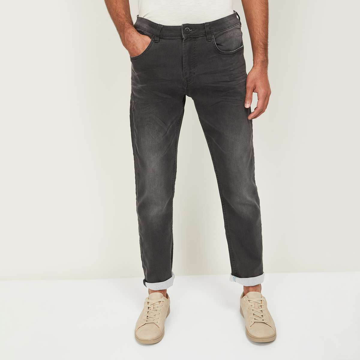 FORCA Men Dark Washed Slim Tapered Jeans