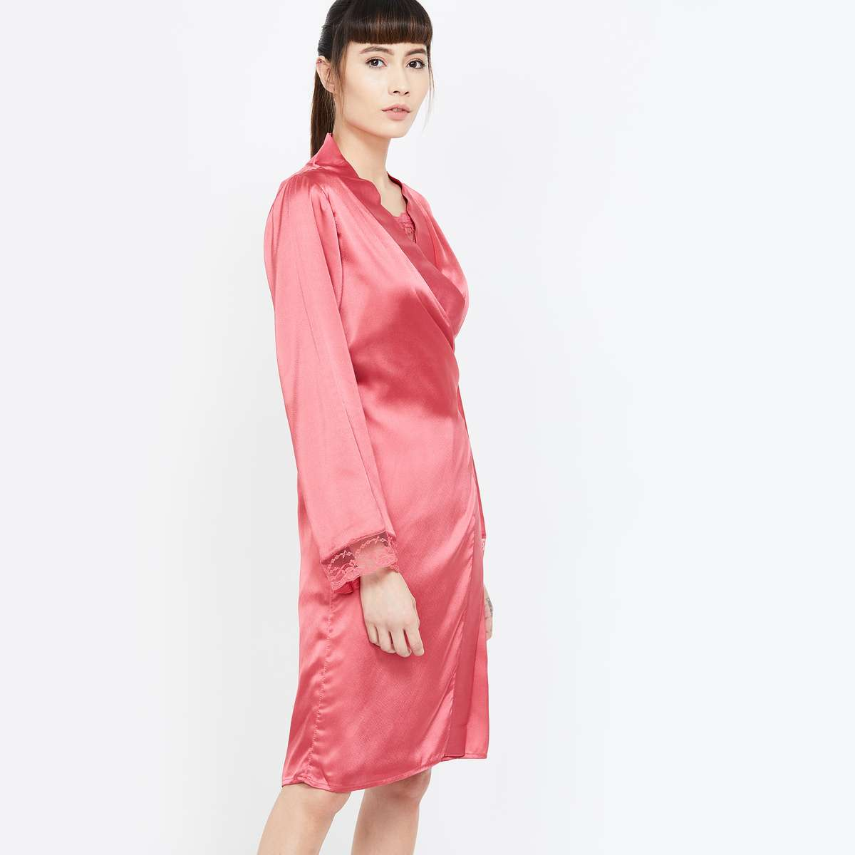 GINGER Solid Night Robe with Lace Trim