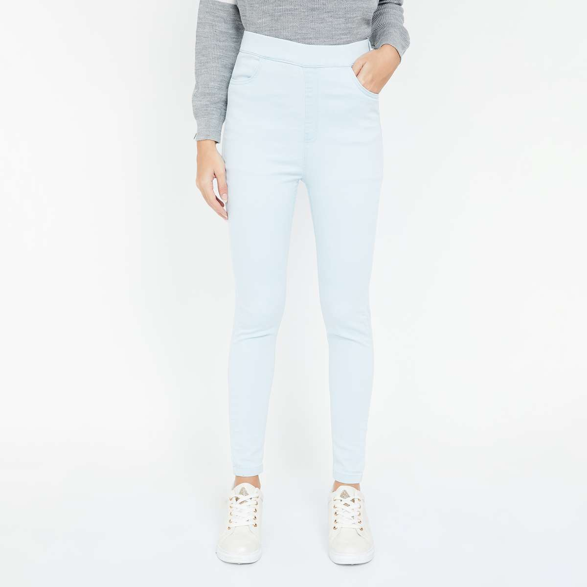 GINGER Solid Skinny Fit High-Rise Jeggings