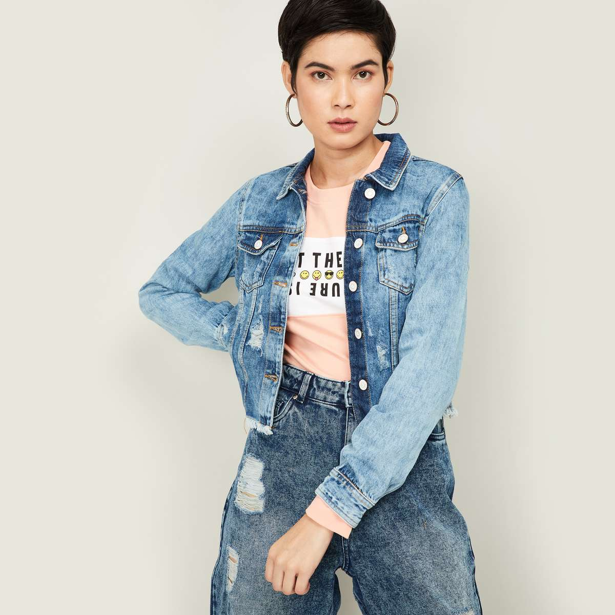 GINGER Women Mid-Washed Distressed Denim Jacket