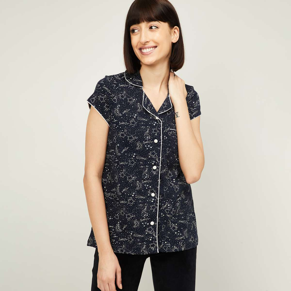 GINGER Women Printed Lounge Top with Button Placket 1