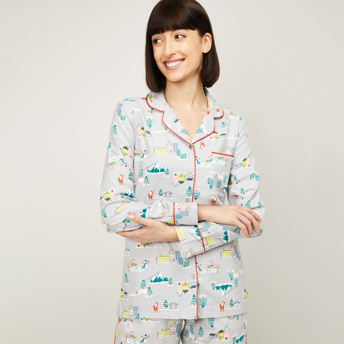 GINGER Women Printed Lounge Top with Button Placket