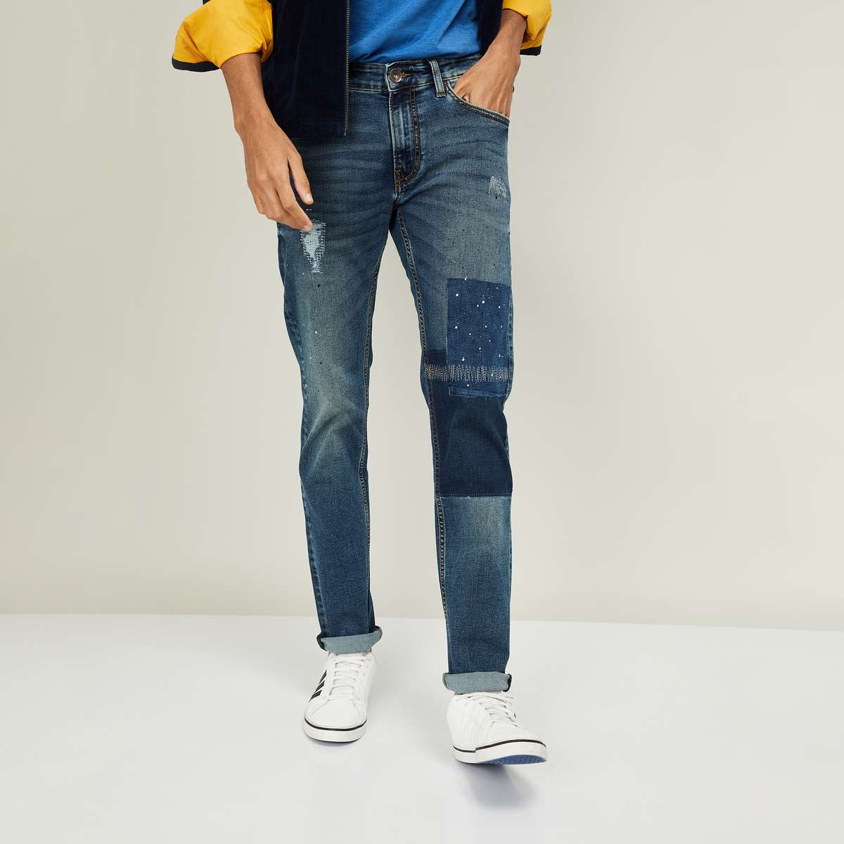PEPE JEANS Men Distressed Skinny Fit Jeans with Patch Applique