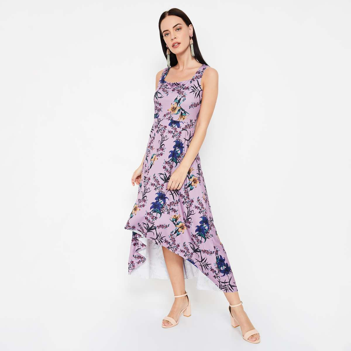 CODE Floral Print Sleeveless Asymmetrical Dress