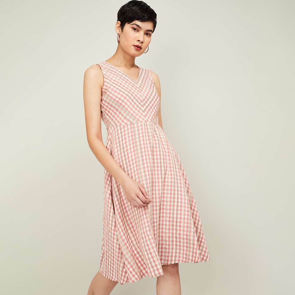 CODE Women Gingham Check Fit and Flare Dress with Embroidery