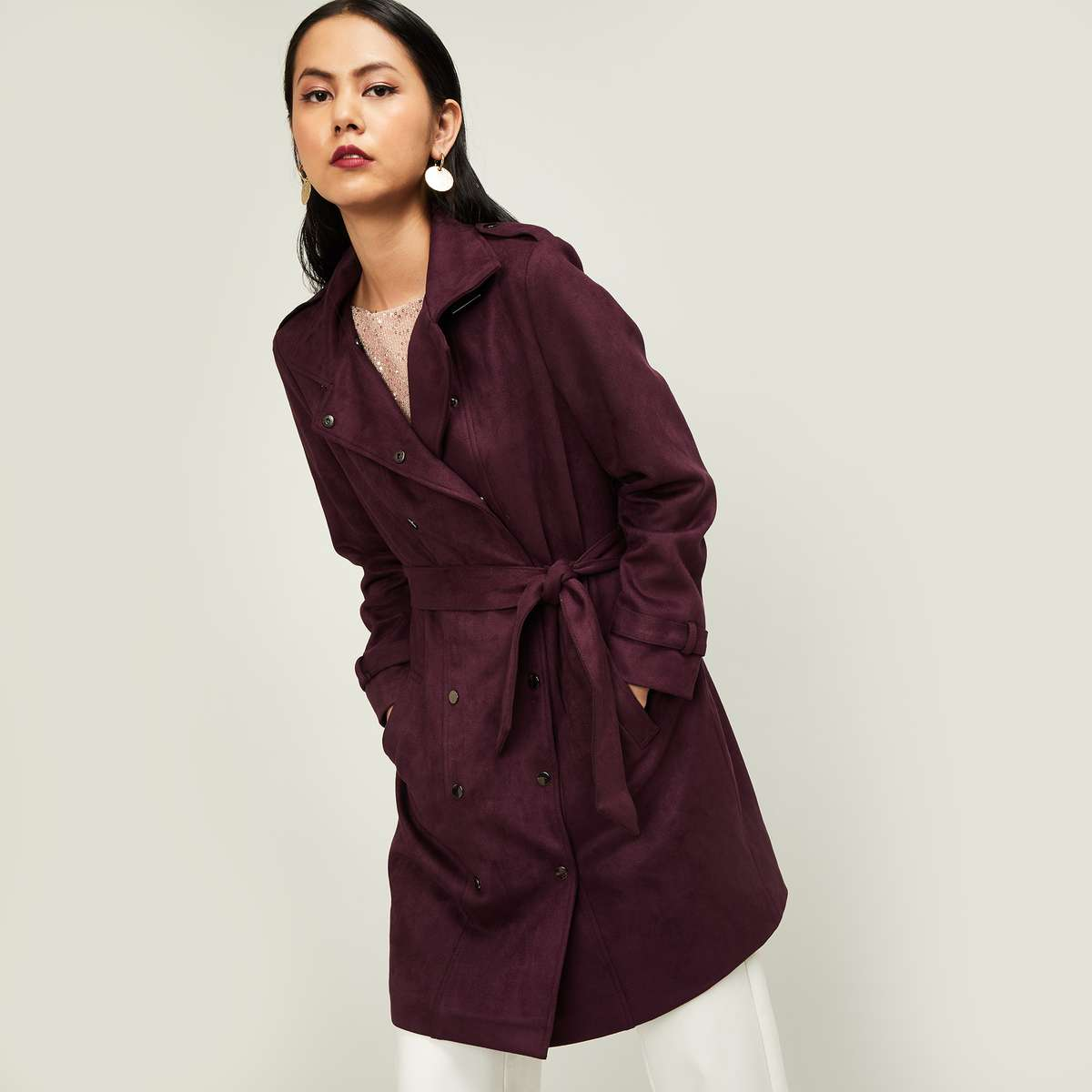 CODE Women Solid Longline Jacket with Notched Lapel