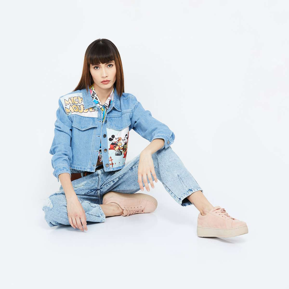 GINGER Mickey & Friends Print Cropped Denim Jacket
