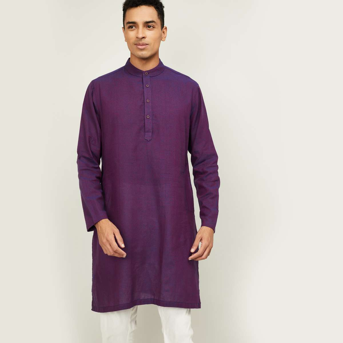 MELANGE Men Textured Full Sleeves Kurta