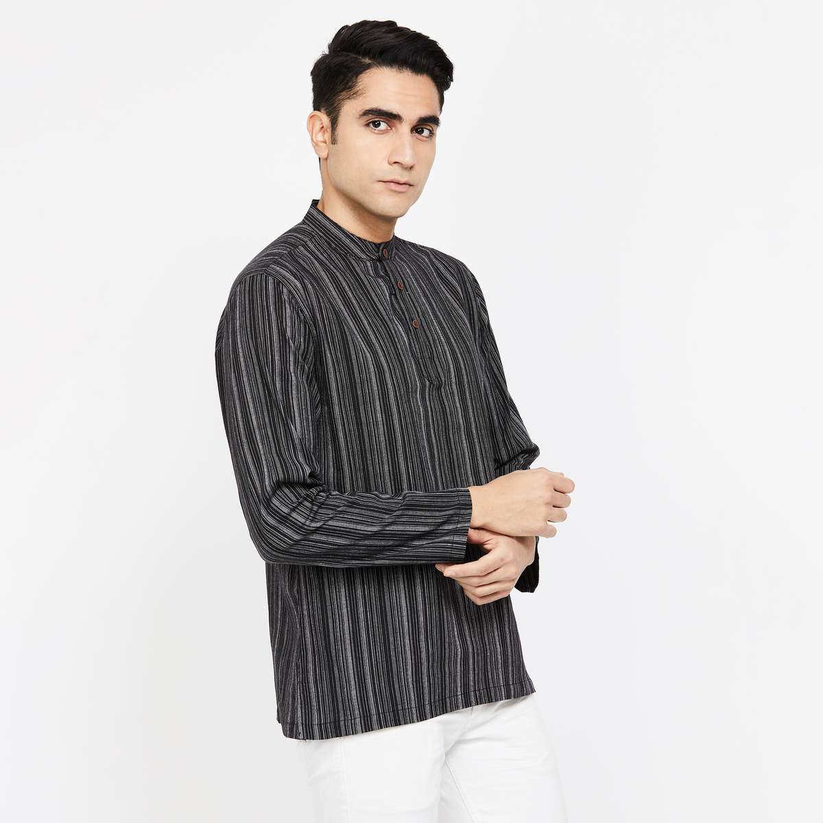 MELANGE Striped Regular Fit Short Kurta