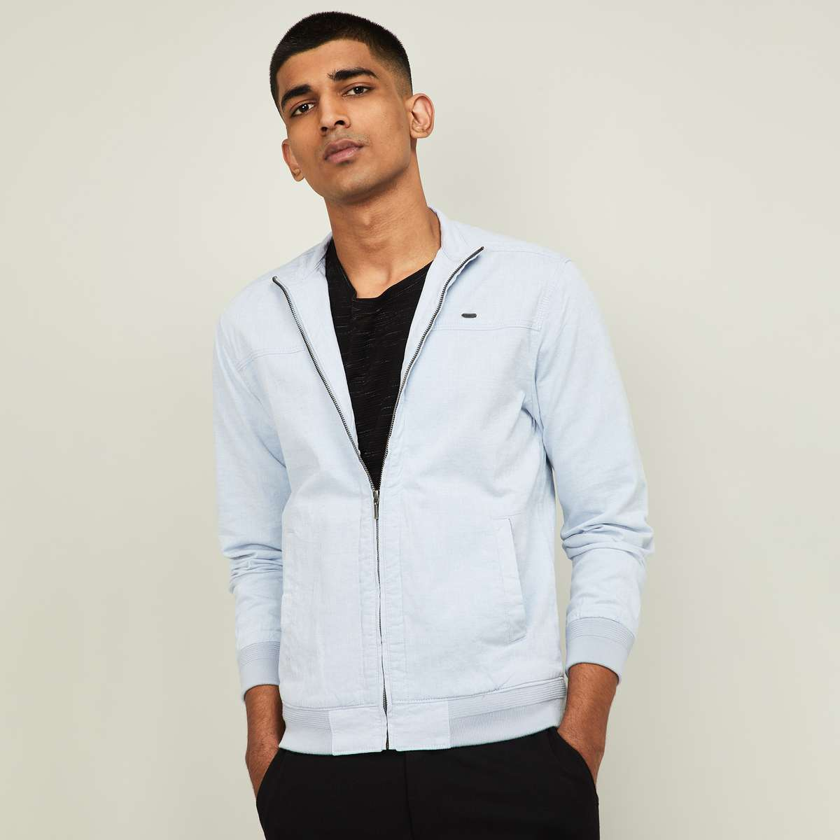 3-CODE Men Solid Bomber Jacket