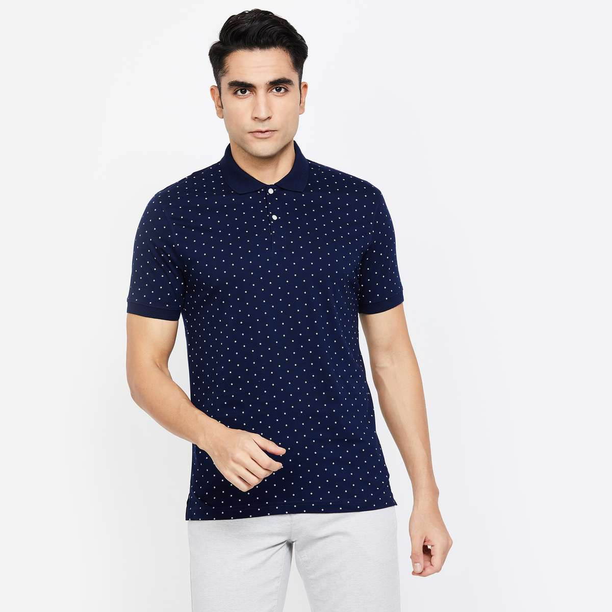 8-CODE Printed Regular Fit Polo T-shirt