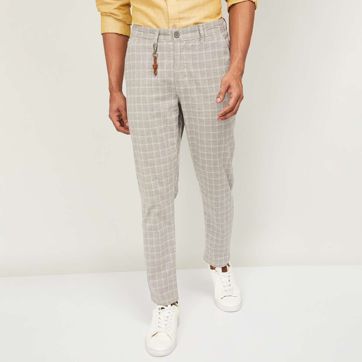 9-CODE Men Checked Slim Tapered Casual Trousers