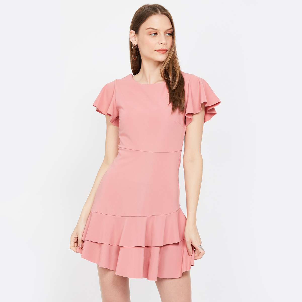 ONLY Flutter Sleeves Skater Dress with Tiered Hem