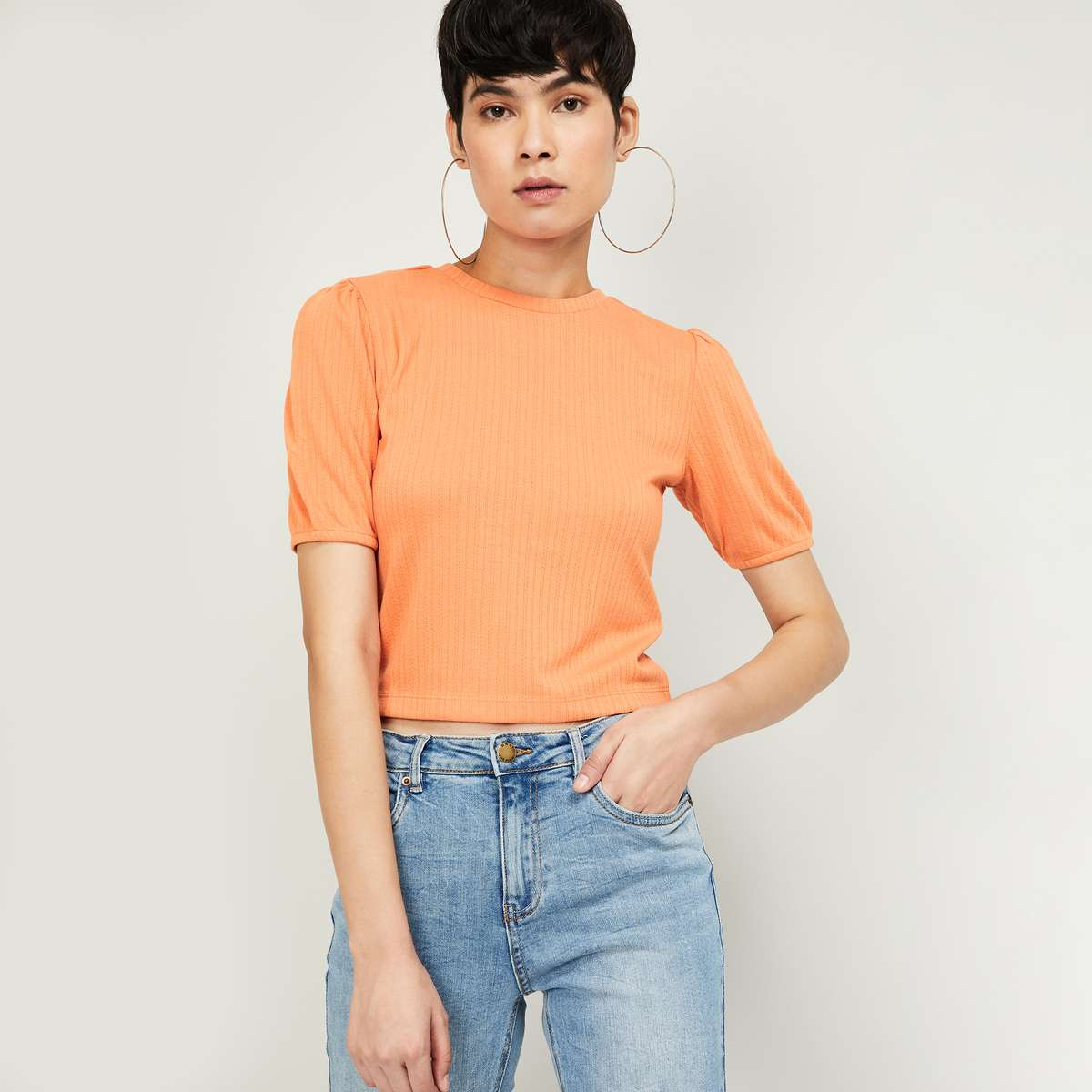 ONLY Women Solid Cropped Top