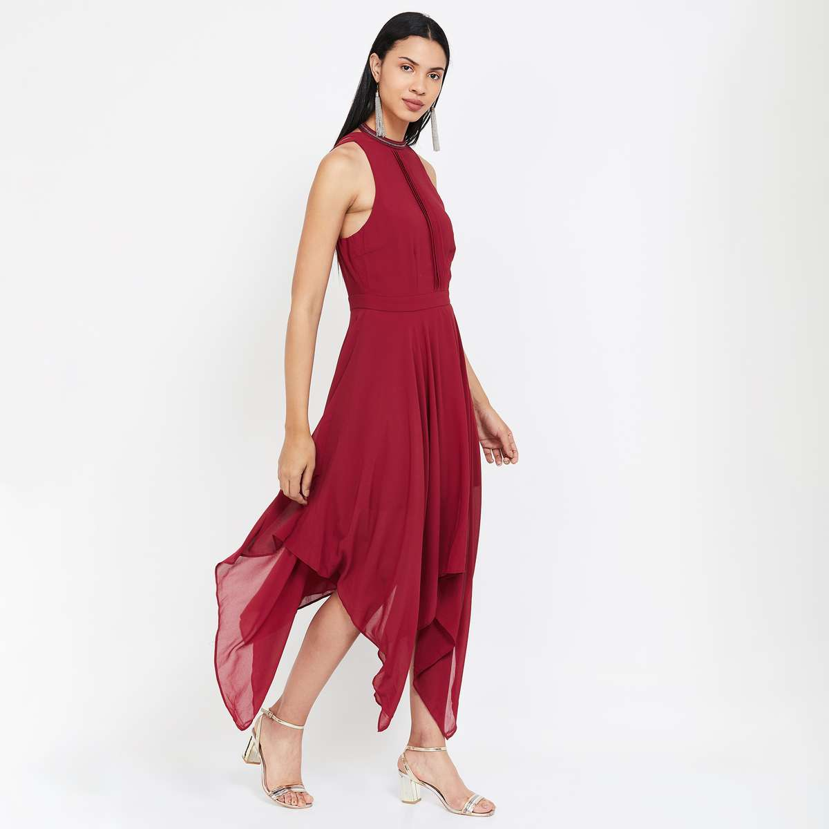 VERO MODA Solid Asymmetric Dress