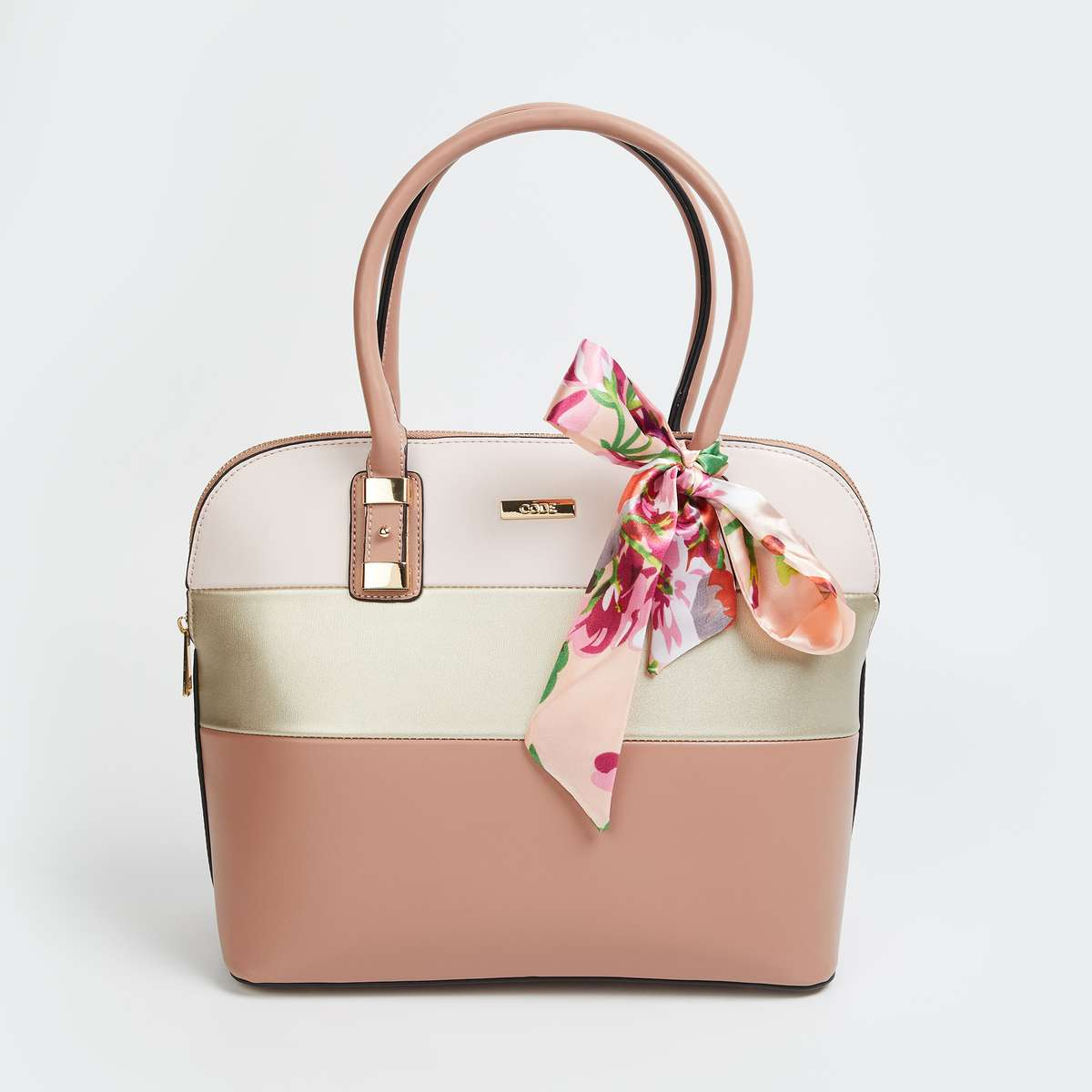 CODE Women Colourblocked Handheld Bag with Bow Tie-Up