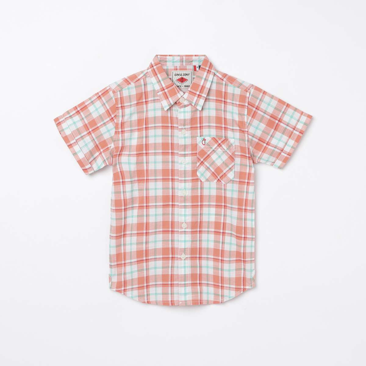 GINI & JONY Boys Checked Short Sleeves Shirt