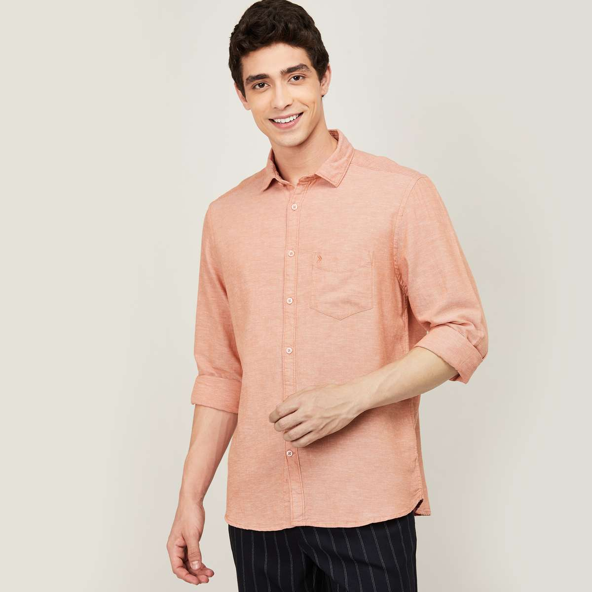 1.CODE Men Solid Regular Fit Casual Shirt