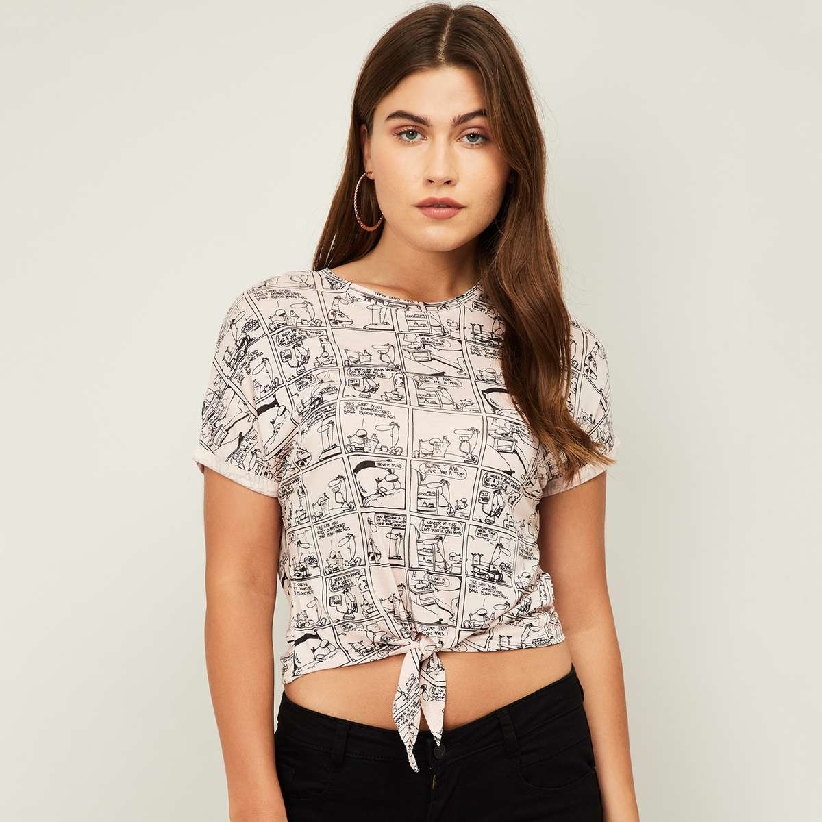 2-GINGER Women Printed Short Sleeves Tie-Up Crop Top