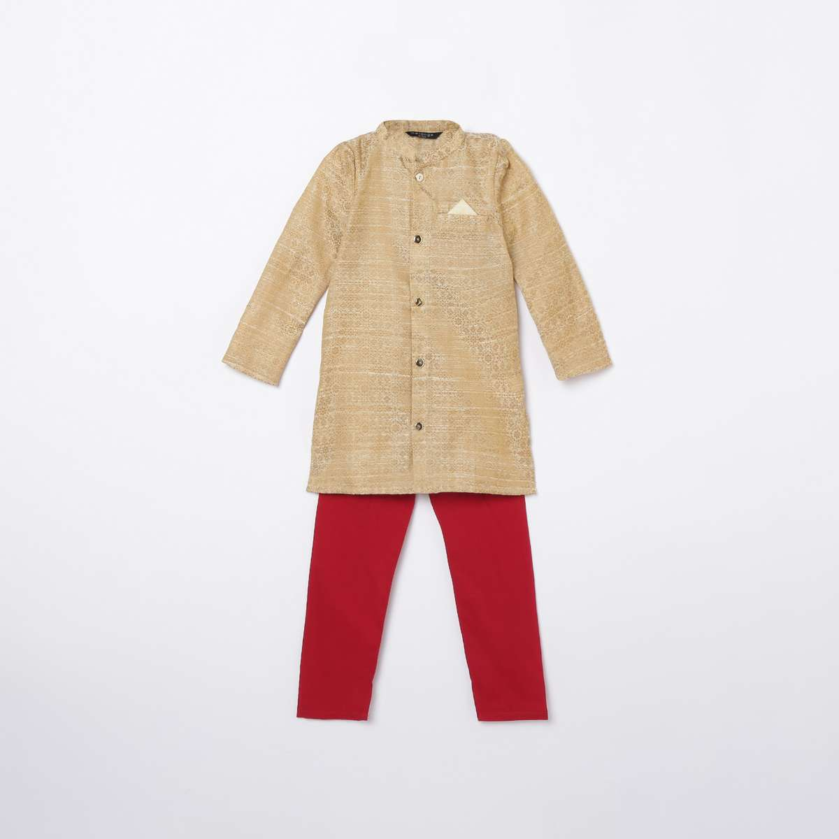 2-MELANGE Boys Embroidered Kurta with Solid Elasticated Pyjamas