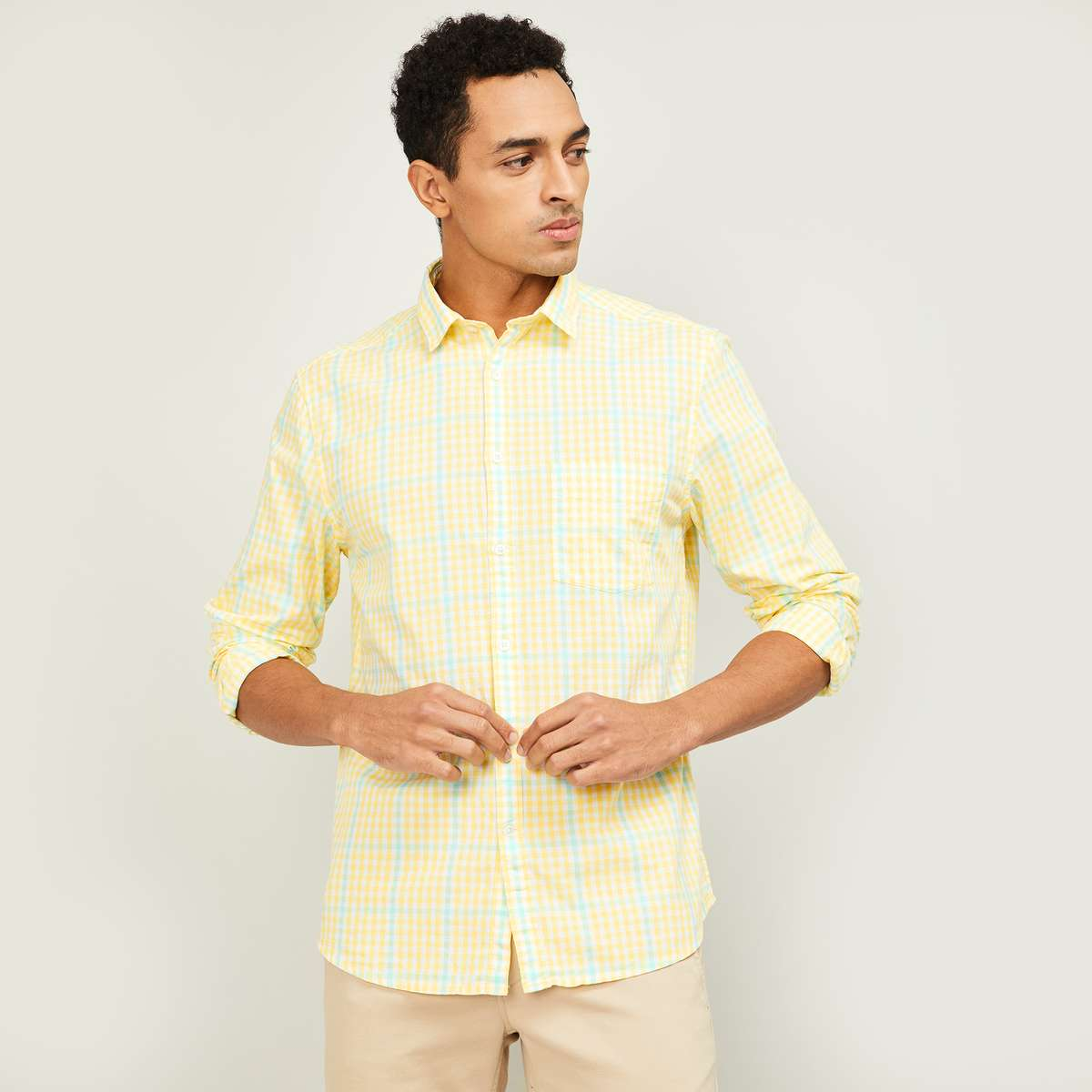 2.CODE Men Checked Full Sleeves Regular Fit Casual Shirt