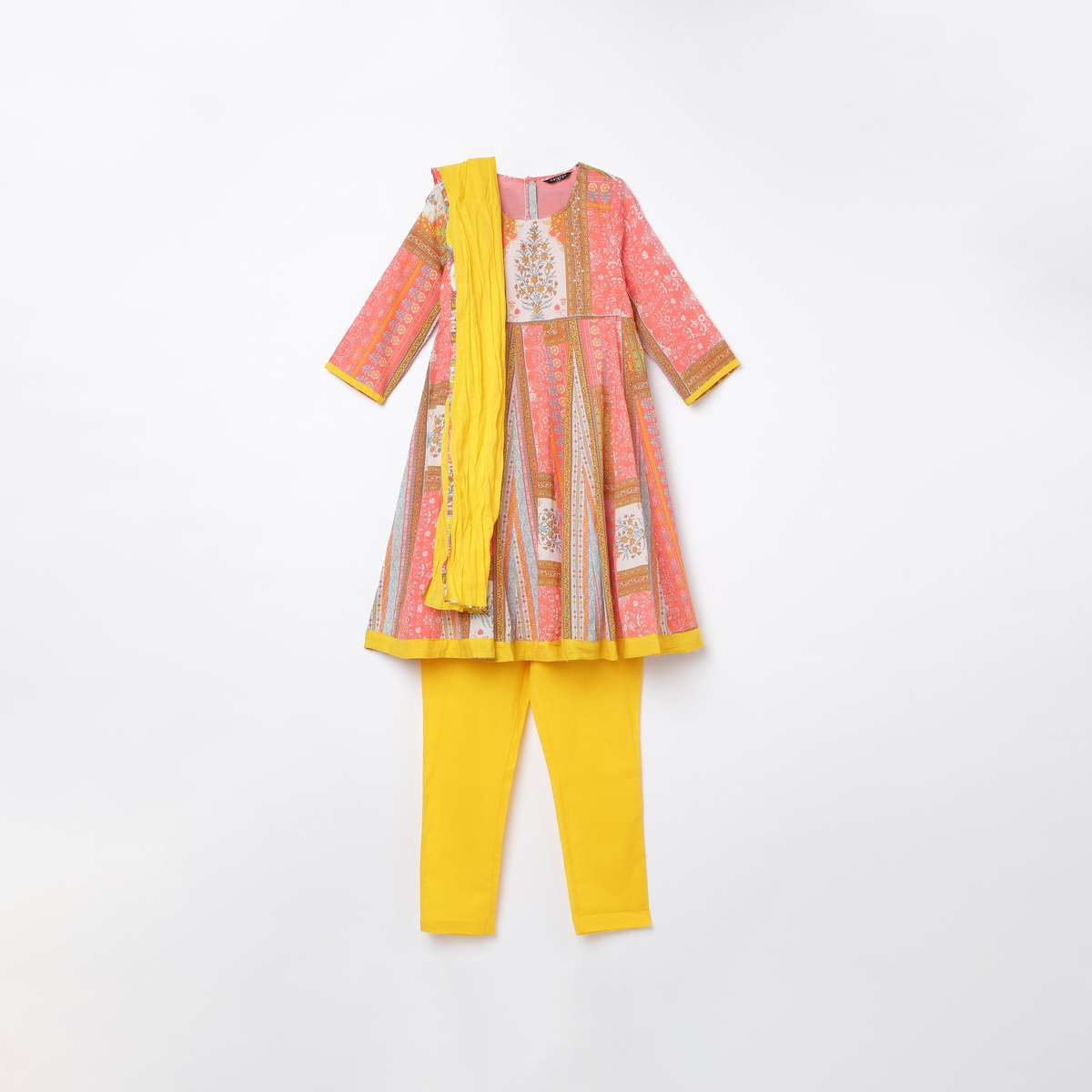 3-MELANGE Girls Printed A-Line Kurta with Solid Churidar and Dupatta