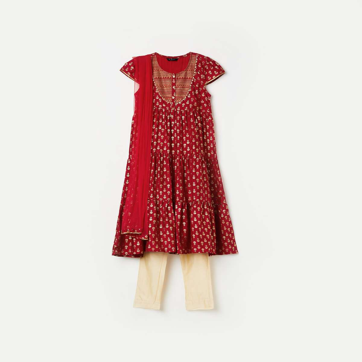 4-MELANGE Girls Printed Flared Kurta with Churidar and Dupatta