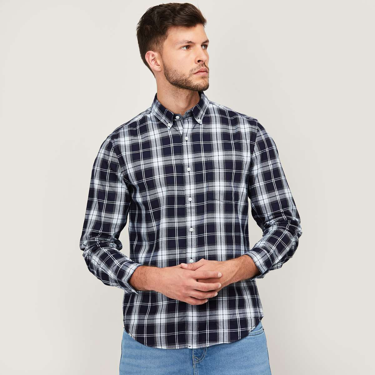 DENIMIZE Men Checked Button-Down Collar Shirt